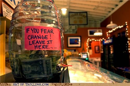 awesome change IRL tip jar tips