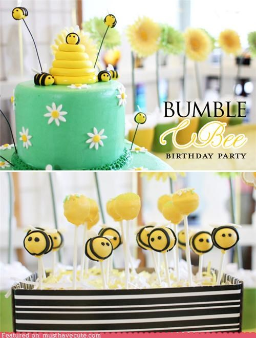 black,bumblebees,cake,cake pops,epicute,green,yellow