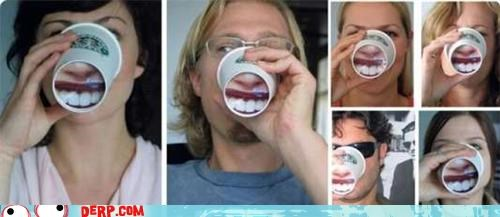 cup derp drink mouth smile teeth - 5050348544