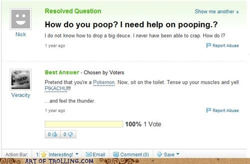 pikachu,pooptimes,thunder,Yahoo Answer Fails
