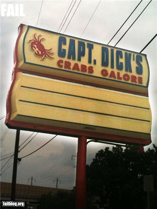 crabs failboat innuendo p33n restaurant signs slogan - 5050619392