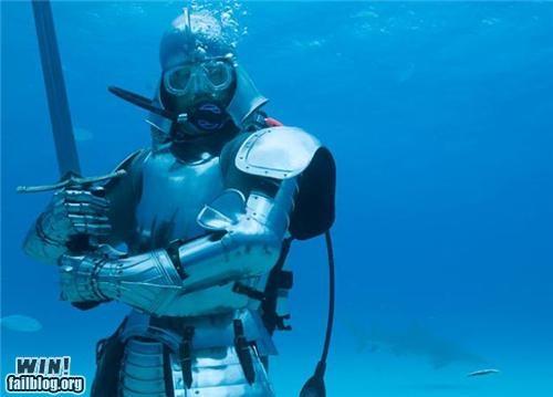 armor,scuba,strike a pose,underwater