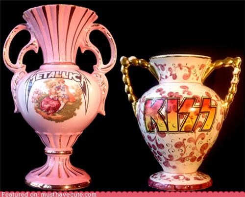 bands,decor,KISS,ladylike,metal,metallica,pink,vases
