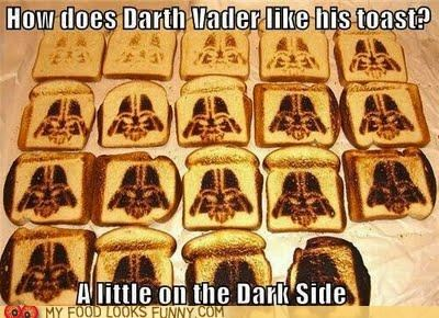 breakfast,burned,dark,darth vader,star wars,toast