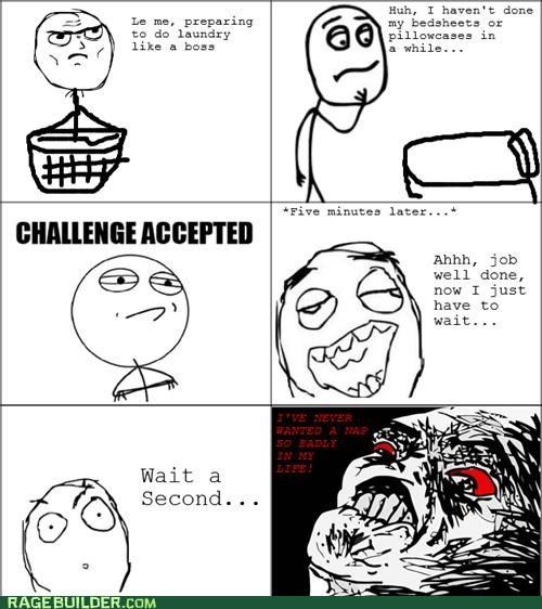 Challenge Accepted laundry nap Rage Comics sheets wash