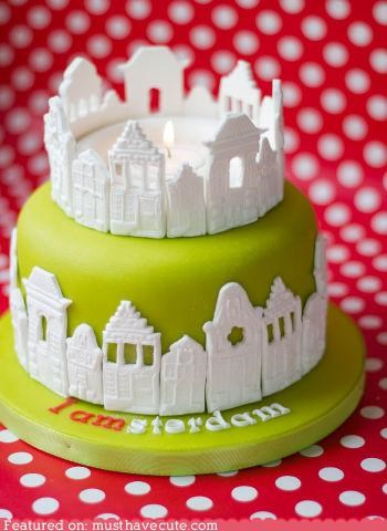 Amsterdam,cake,candle,city,epicute,fondant,green