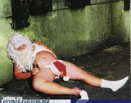 alley,booze,christmas,passed out,santa clause