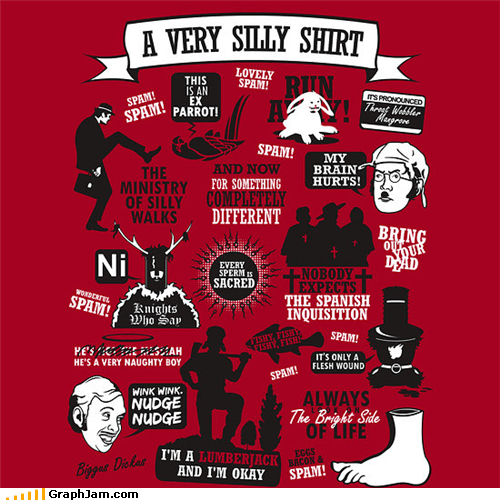 awesome,monty python,shirt,silly