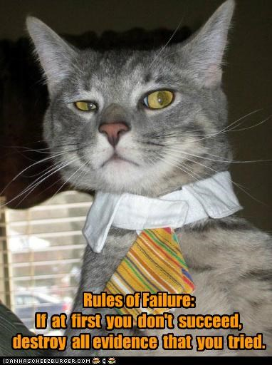 attempt,caption,captioned,cat,destroy,dont,evidence,failure,first,rules,succeed,tie,tried