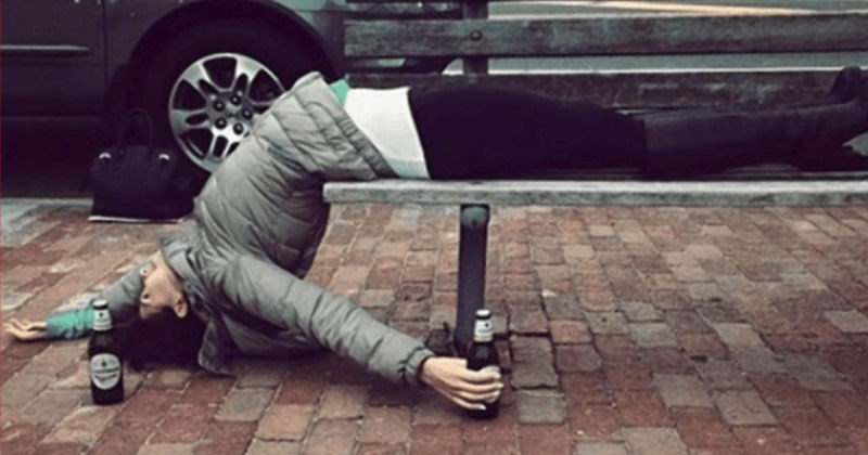 drunks in yoga poses