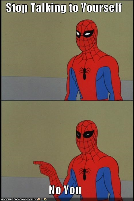 Spider-Man,Super-Lols,talking to yourself