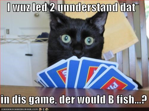 caption,captioned,card,card game,cards,cat,fish,game,go fish,LED,misunderstanding,understand