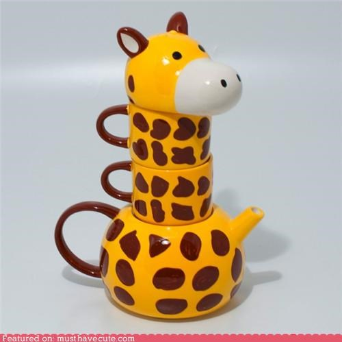cups,giraffes,neck,pot,tea,tea cups,teapot