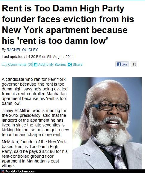 jimmy mcmillan political pictures the rent is too damn high - 5054087424
