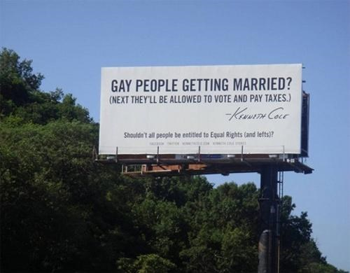Kenneth Cole LGBT rights Marketing Campaign same-sex marriage sign of the times