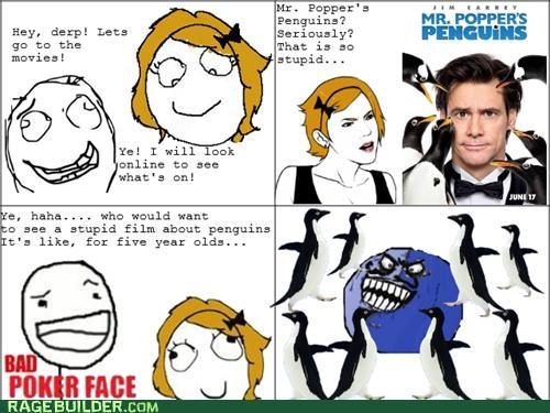 bad poker face,i lied,mr-poppers-penguins,penguins,Rage Comics