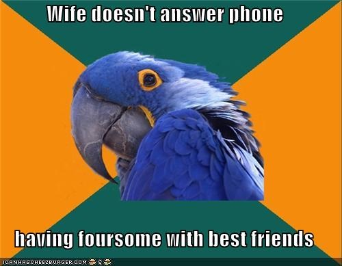 family,foursome,kids,Paranoid Parrot,phone,wife