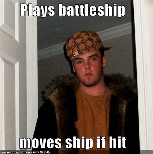 Plays battleship moves ship if hit
