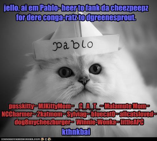 jello, ai em Pablo- heer to fank da cheezpeepz for dere conga-ratz to dgreenesprout. kthnkbai pusskitty~ MJKittyMom~ _C_A_T_~ Malamute Mom~ NCCharmer~ 2katmom~ Sylviag~ bluecat0~ allcatsloved~ dog8mycheezburger~ Winnie-Wonka~ littleAPC