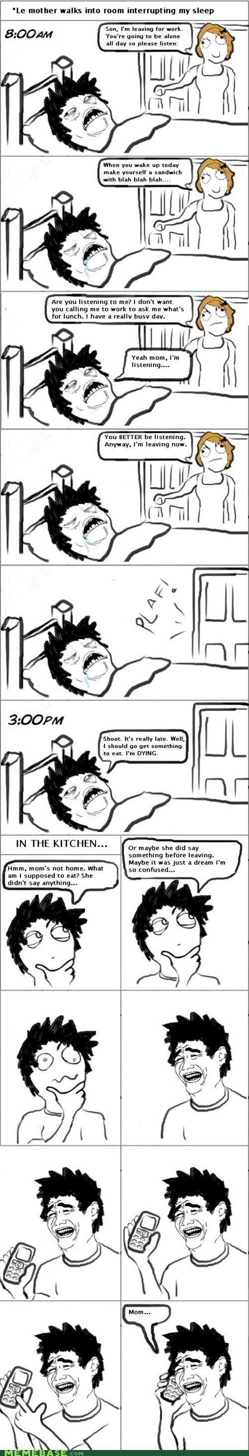 call,Home Alone,lunch,mom,Rage Comics,sleeping