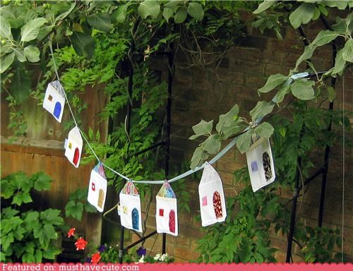 decor fabric garland hanging houses - 5056977152