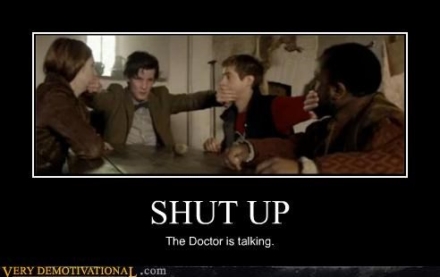 doctor who,hilarious,shut up,talking