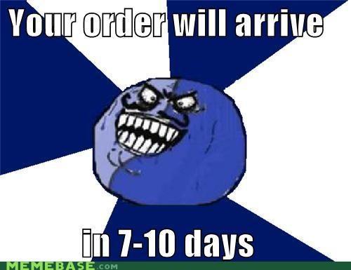 10 days arrive i lied order packages shipment UPS - 5060105728