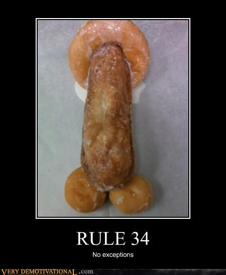 Demotivational Rule 34 poster of phallic donuts in compromising positions