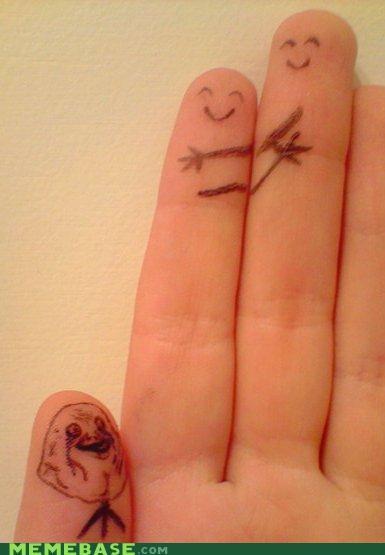 fingers forever alone hug IRL thumb - 5061408768