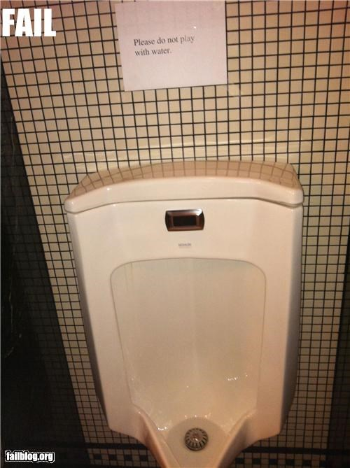 Do not play with water Do not play with water in Urinal