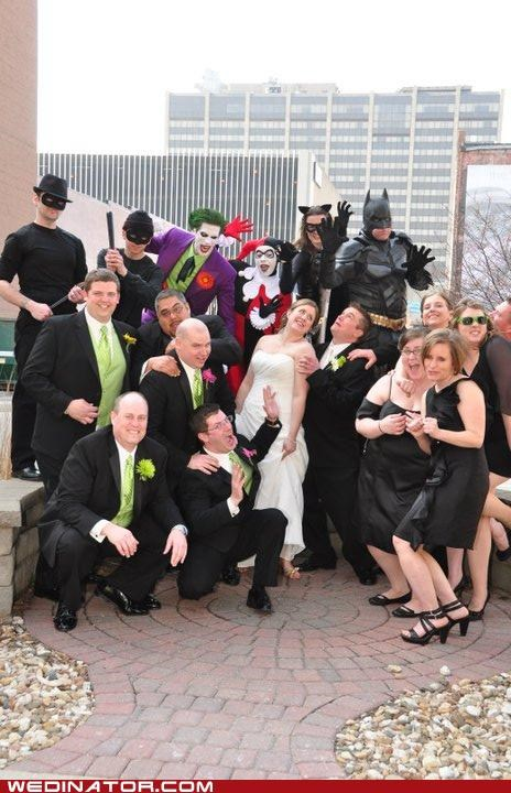 batman,bride,bridesmaids,comics,funny wedding photos,geek,groom,joker,wedding party