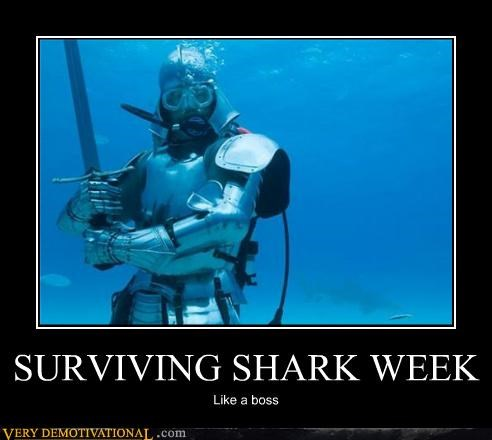 hilarious,knight,scuba,shark week,sword