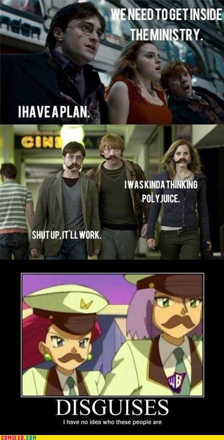 disguise,Harry Potter,moustache,Pokémon