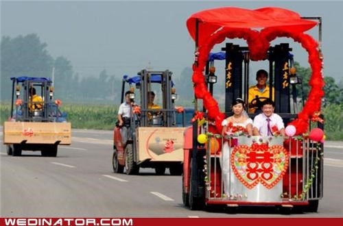 bride,bulldozers,China,funny wedding photos,groom