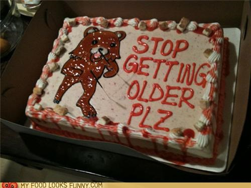 aging birthday cake decorated icing older pedobear - 5064064000