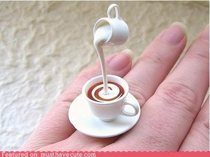 coffee,milk,miniature,pitcher,pour,ring