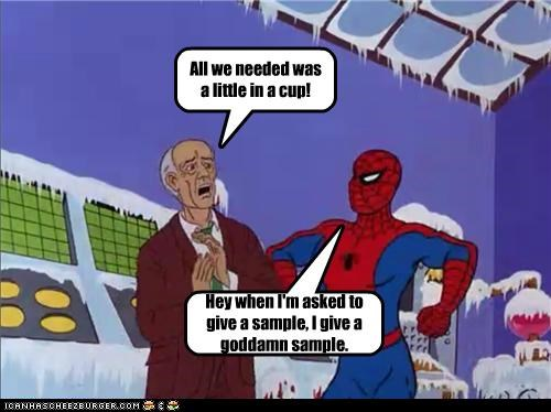cup man milk sample Spider-Man Super-Lols wtf - 5064402432