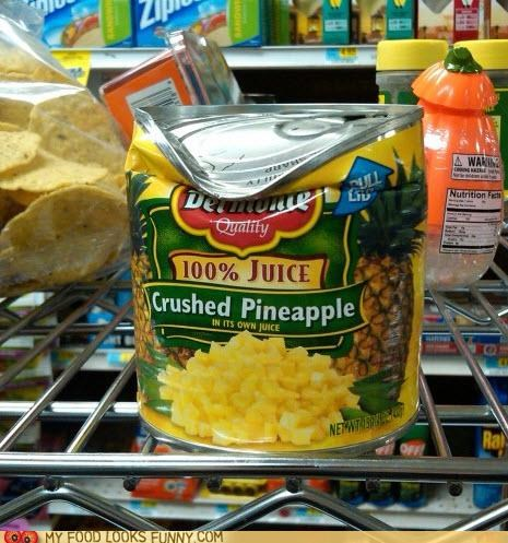 can,crumpled,crushed,label,pineapple
