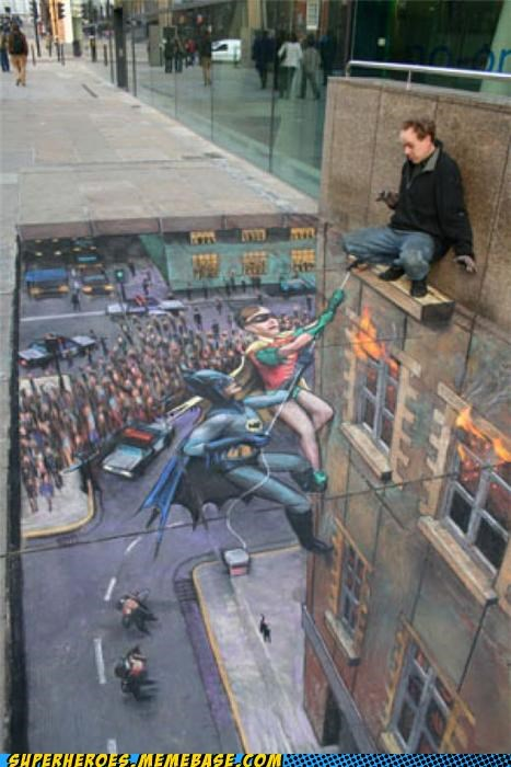 Awesome Art batman robin sidewalk Street Art - 5064607232