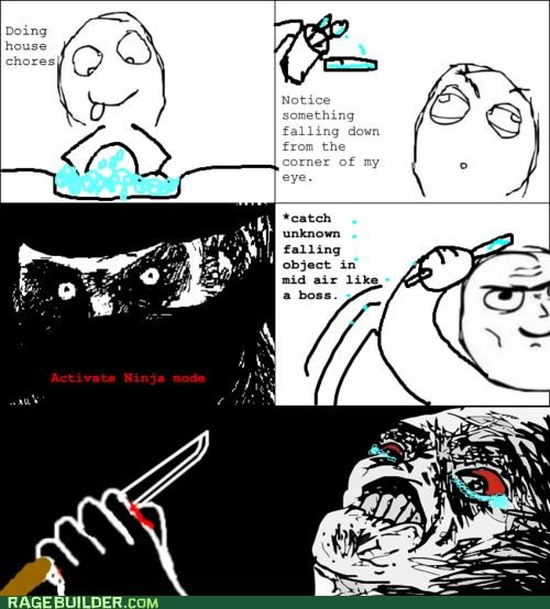 catch cut knife ninja ouch Rage Comics Sad - 5064687360