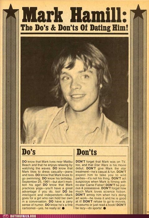 dos and donts luke skywalker Mark Hamill star wars We Are Dating - 5064922624