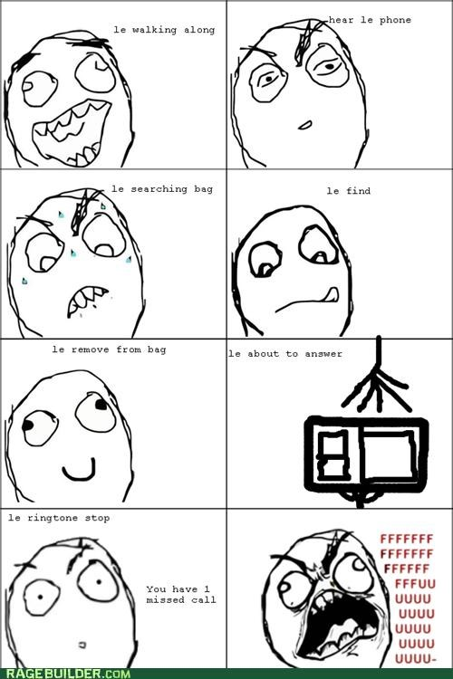 fu guy,missed call,phone,pocket,Rage Comics