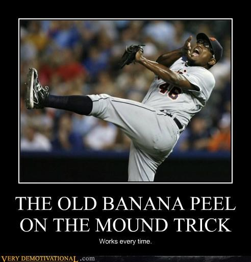 banana peel,baseball,hilarious,pitchers-mound,sports