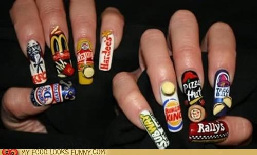 acrylic,fake,fast food,fingernails,logos