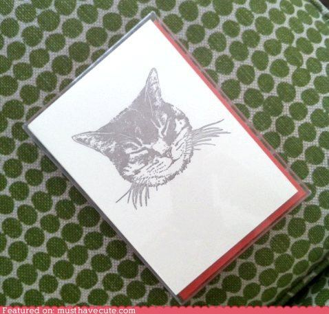 blank card cat print stationary - 5065212416