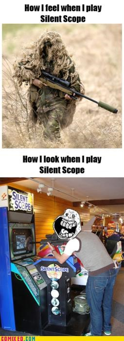 arcade,forever alone,silent scope,video games