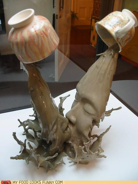 art coffee cups faces KISS pour sculpture