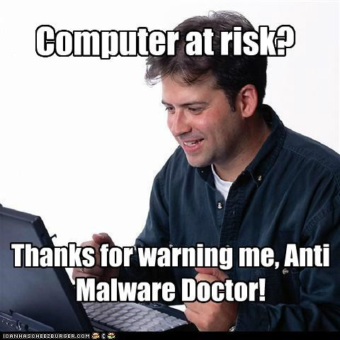 Computer at risk? Thanks for warning me, Anti Malware Doctor!