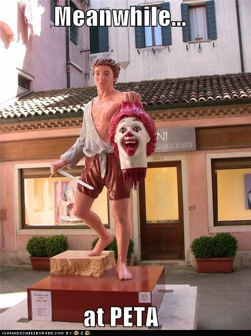beheaded,caption contest,decapitation,fast food,peta,Ronald McDonald,statues,wtf