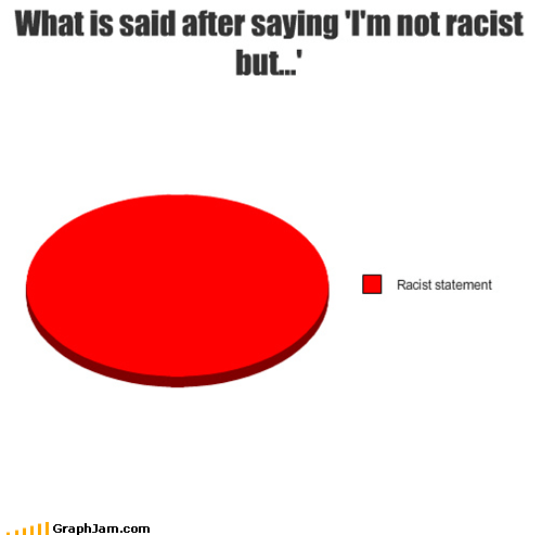 What is said after saying 'I'm not racist but...'